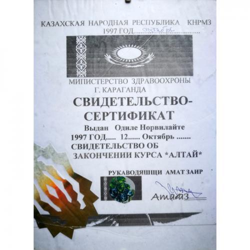 samanu dplomas, diplomas, altai, kazachijoje, kazachija, Odile Norvilaite, samane, bureja, netradicinis gydymas, prie sveikatos ministerijos, sveikatos ministerija, eksperimentinis gydymas